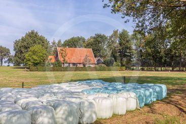 Dutch countryside region Twente with hay bales wrapped...