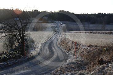 Frostig vinterväg i motljus  (Sweden)