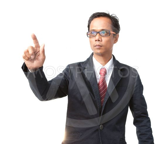 young asian business man pointing by right hand finger...