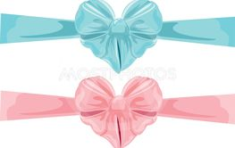 Set of different colors bows in heart shape isolated on...