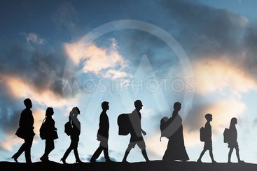 Refugees People With Luggage Walking In A Row