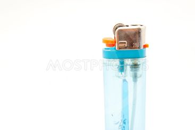 isolated blue plastic lighter