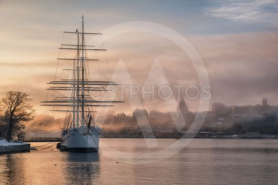 Old ship in Stockholm at sunrise.