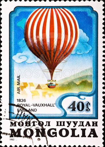 """postage stamp shows air balloon """"Royal-Vauxhall"""""""