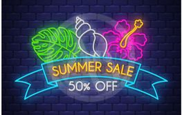 Summer sale banner. Neon sign lettering.