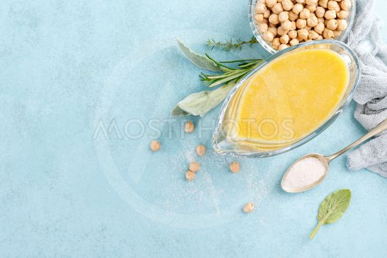 Chickpea sauce, hummus, top view