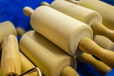 close-up od several wooden rolling pins