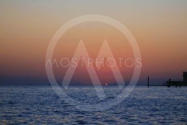 Sunset Over The Sea. Evening on the seashore. Black sea...