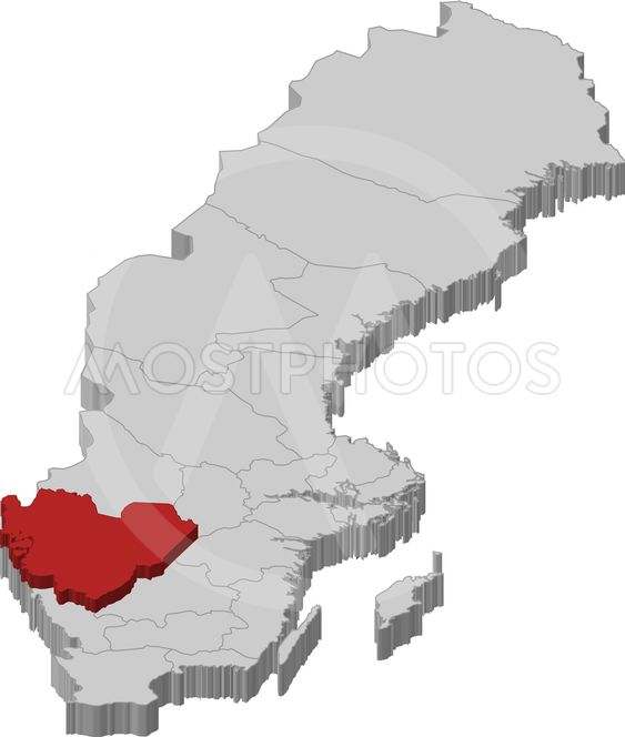 Map Of Sweden Vastra Gotal Av Steffen Hammer Mostphotos