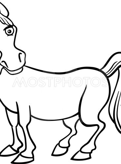 farm horse cartoon for coloring book