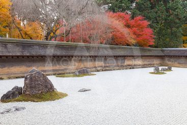 Japanese Rock Garden, Kyoto, Japan.