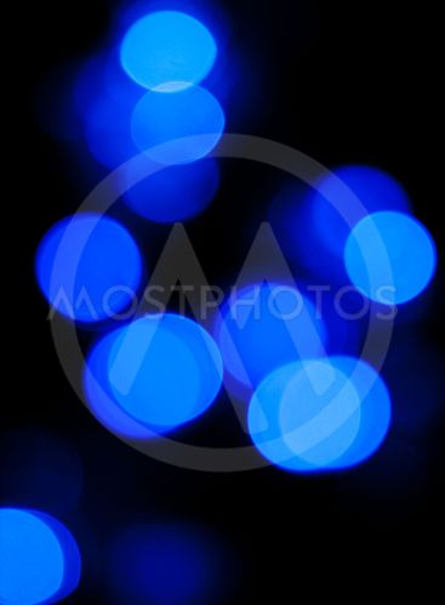 Defocussed bokeh of blue light spots