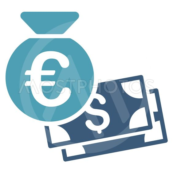 Euro and Dollar Cash Flat Vector Icon
