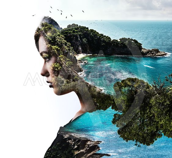 Double exposure. Portrait of a woman combined with a...