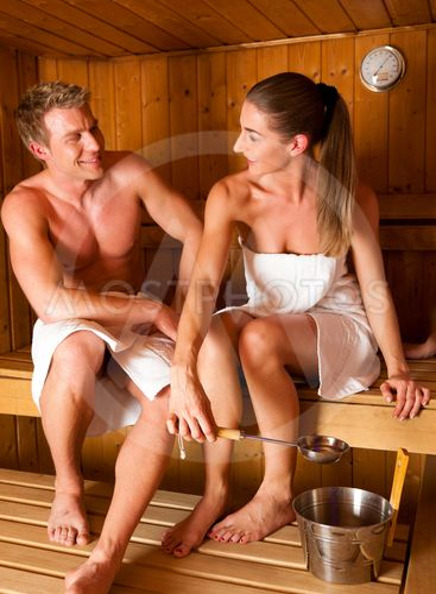 Couple in in sauna