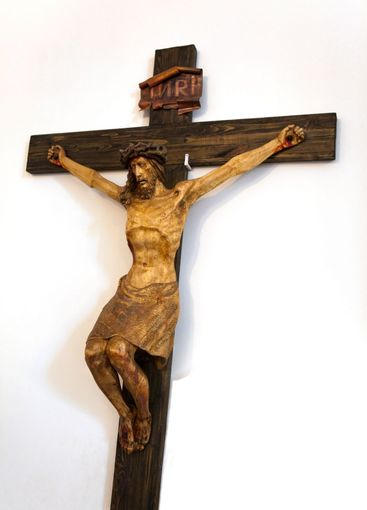 Wooden Crucifix inside the Roman Catholic Cathedral in...