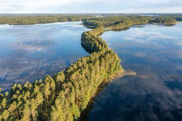 A ridge in a lake in summer in Finland