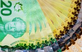 Canadian banknotes background