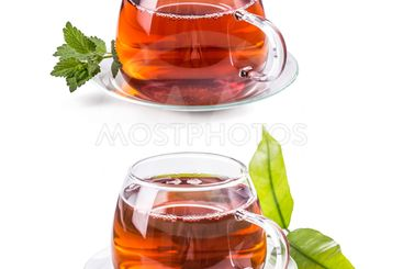 Set of cups with tea