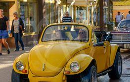 A yellow car