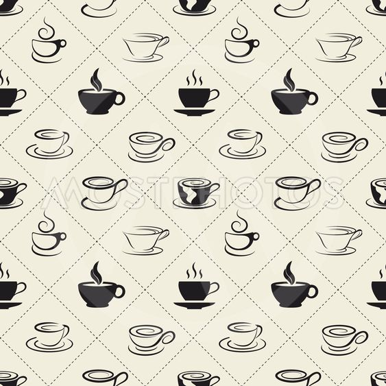Coffee icons or emblem in seamless pattern
