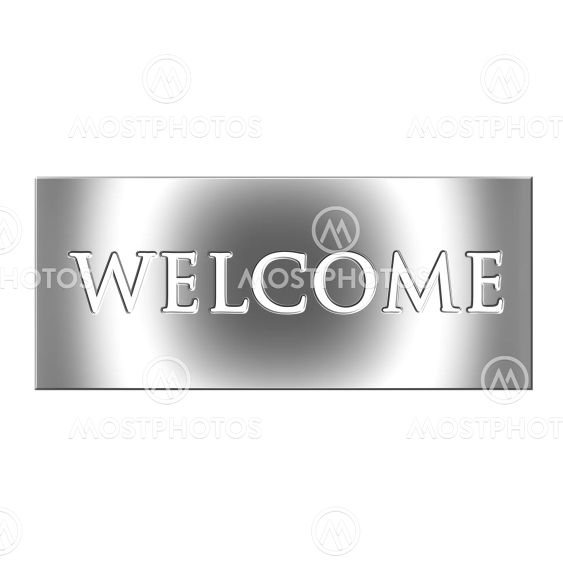 3D Silver Welcome Sign