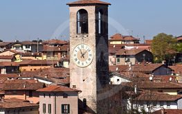Panoramic image of the town of Palazzolo in Lombardy -...