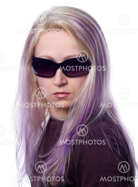 Pretty girl with violet hair