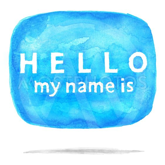 Blue square speech bubble icon HELLO My Name Is with...