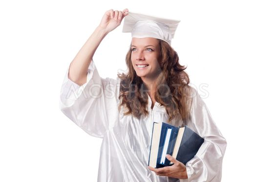 Graduate with book isolated on white
