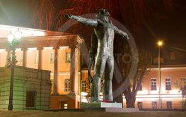 Monument of Vladimir Vysotsky in Moscow, Russia at night...