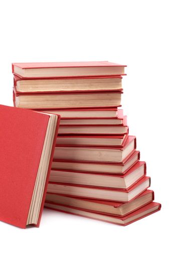 Pile of red books on a white background