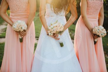 The bride and bridesmaids in an elegant dress is standing...