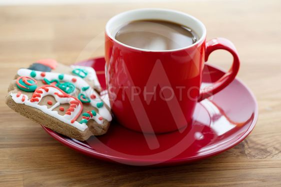 hot coffee and a yummy biscuit