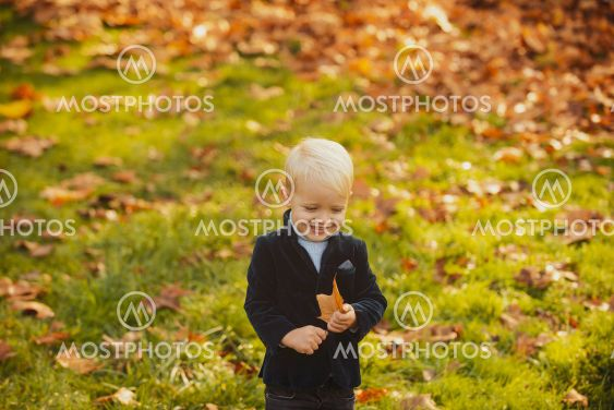 Adorable autumn kids with leaves in the beauty park....
