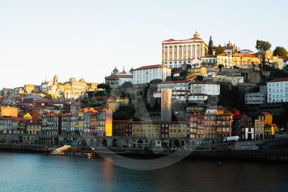View of Douro river and Ribeiro, Porto, Portugal.