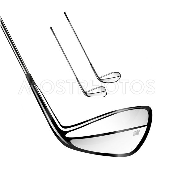Golf sticks isolated on the white as vector design...