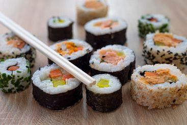 Sushi set of maki with chopsticks