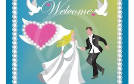 Vector illustration with bride and groom.