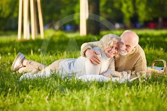Happy senior couple doing picnic in a park