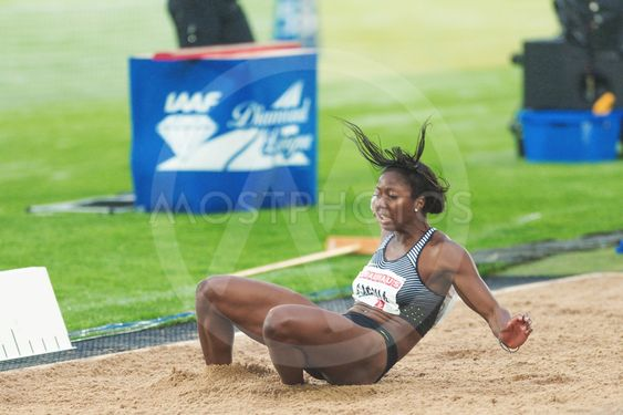 Khaddi Sagnia in the women long jump at the IAAF Diamond...