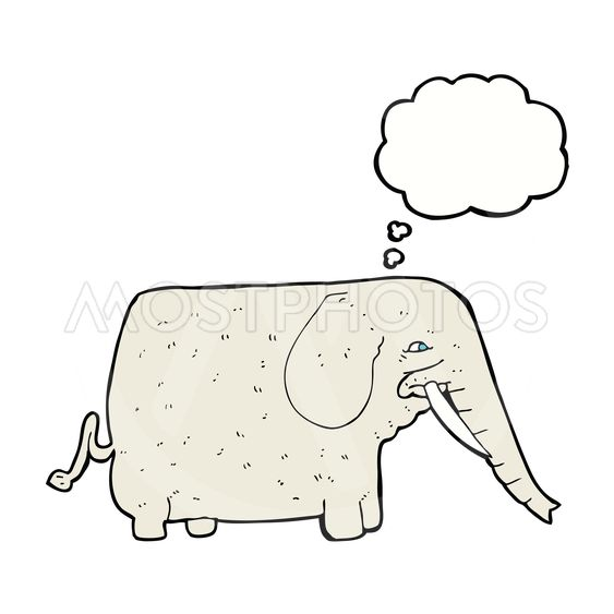 cartoon big elephant with thought bubble