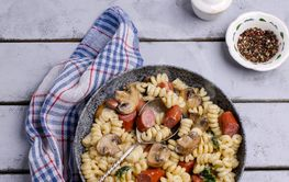 Pasta with mushrooms and sausages