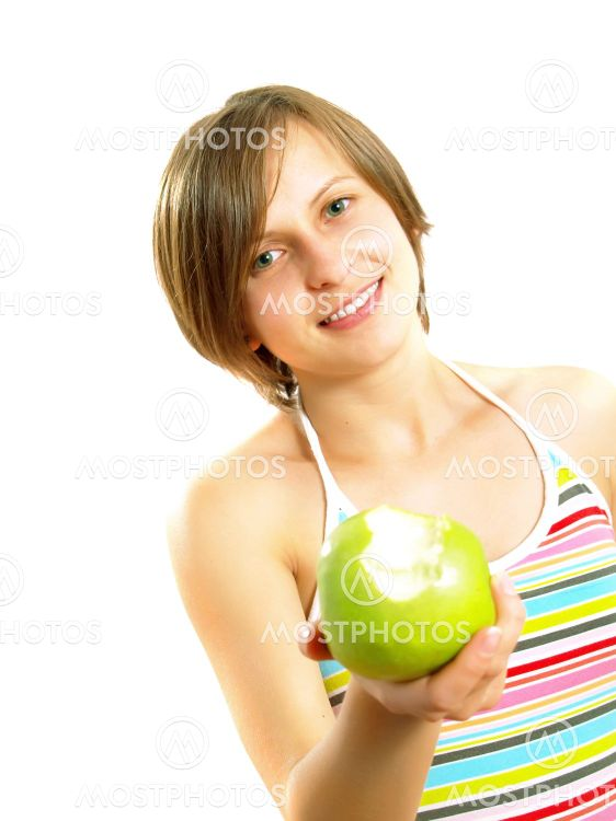 Söpö tyttö hymyilevät, jossa vihreä Applen