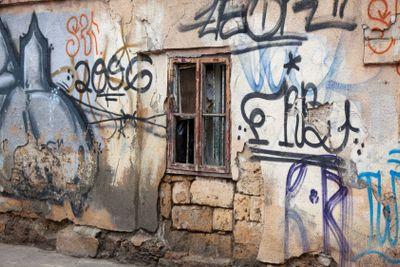 Window with graffiti