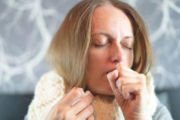 Disease. Home treatment. Flu. Woman  sick at home