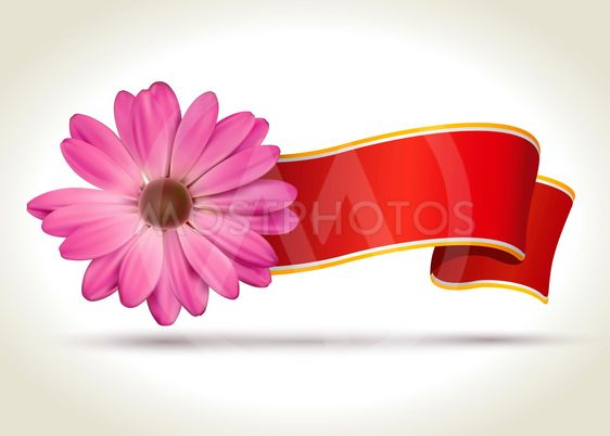 Ribbon with vector flower