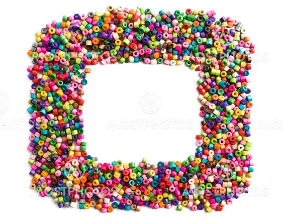 Färgstarka trä pärlor ram