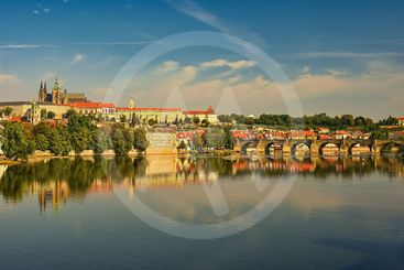 Prague, capital of the Czech Republic. Scenic sunset view...
