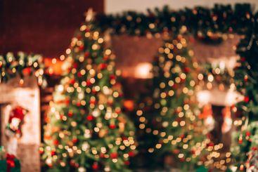 Beautiful background decorated Christmas tree. Christmas...